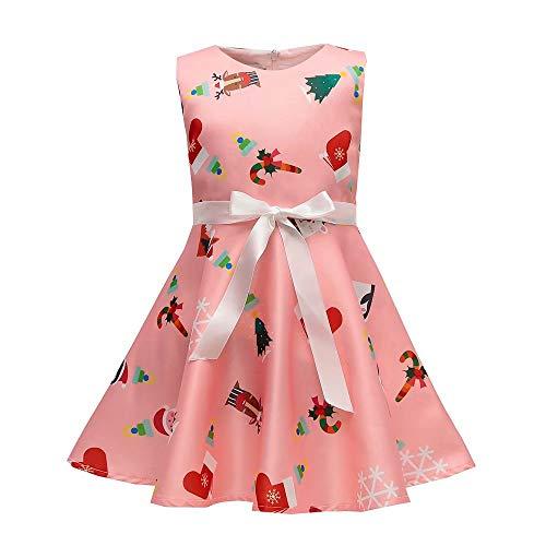 AYOMIS Girls Cotton Casual Sleeve Cartoon Stripe Dresses 2-9 Years(Xmas Pink-3,4-5Y) ()
