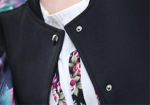 Larga Impresa Top Outwear Corto Manga Chaquetas Mujer Botones Cardigan Flores Con Black Joven BESTHOO Bolsillo Con Chaquetas Abrigos Universidad Jacket Baseball HEzSnPHq