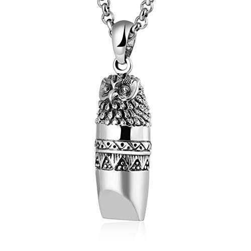 KnSam Mens Womens Sterling Silver Necklace with Pendant Vintage Retro Chain Owl Whistle Silver (Skull Silver Pewter Ring)