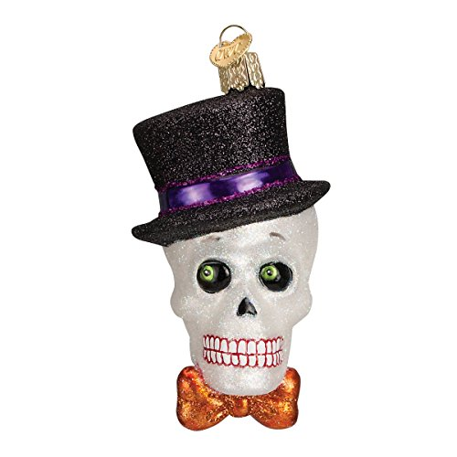 Old World Christmas Glass Blown Ornament with S-Hook and Gift Box, Halloween Collection (Top Hat -