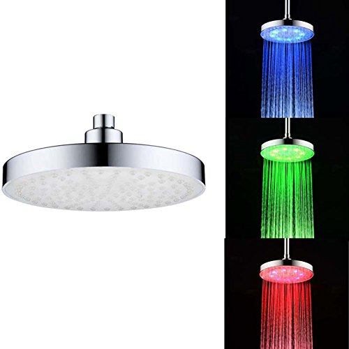 Nixikoo LED Shower Head 8 Inch Round Rain Stainless Steel Ba