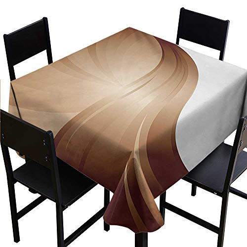 Glifporia Personalized Tablecloths Chocolate,Spiraling Stripes with Monochrome Tones Modern Art Inspirations Abstract,White Pale Brown,W36 x L36 Fabric Print Tablecloth ()