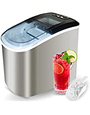 Stainless Steel Portable Compact Ice Maker Countertop with Panoramic Viewing Window, Ice Cube Machine, Bullet Cubes in S/L Size 26 lb/24H for Home Office Party, Boat RV