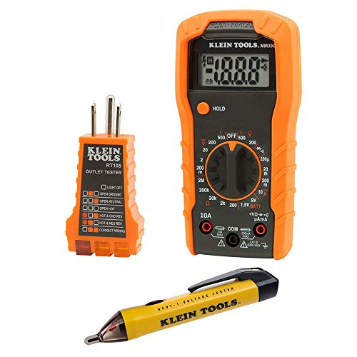 Klein Tools 69149 Electrical Test Kit with Multimeter, Non-Contact Voltage Tester and Receptacle Outlet Tester (Renewed) ()