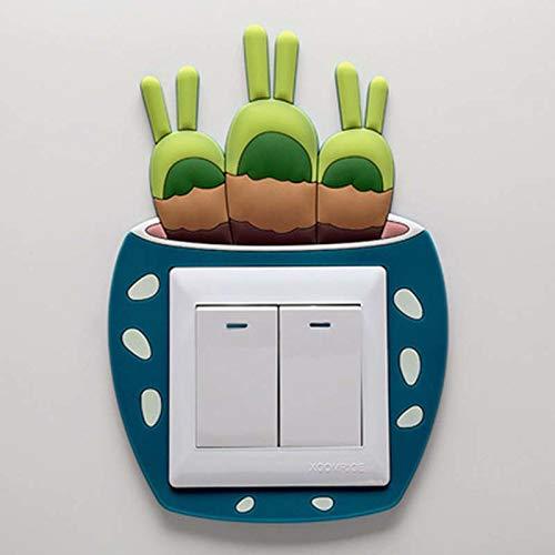 Wall Stickers - Cute Luminous Fleshy Cactus Plant Switch Sticker Creative Sleeve Socket Wall Self Adhesive Paster - Butterflies Bathrooms Family Mirror Paris Zoo School Skyline Potter Kids