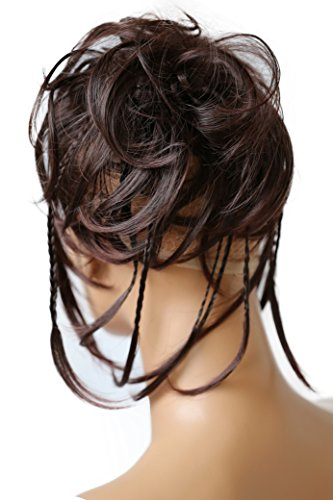PRETTYSHOP Hairpiece Hair Rubber Scrunchie Scrunchy Updos VOLUMINOUS Wavy Messy Bun dark brown # 2T33 G7D