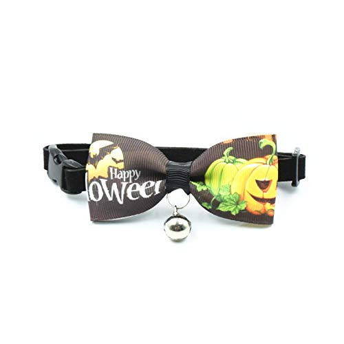 Ovale Pumpkin Pattern Quick Release Bowtie Cat Collar for All Saints' Day (S, Pumpkin001)