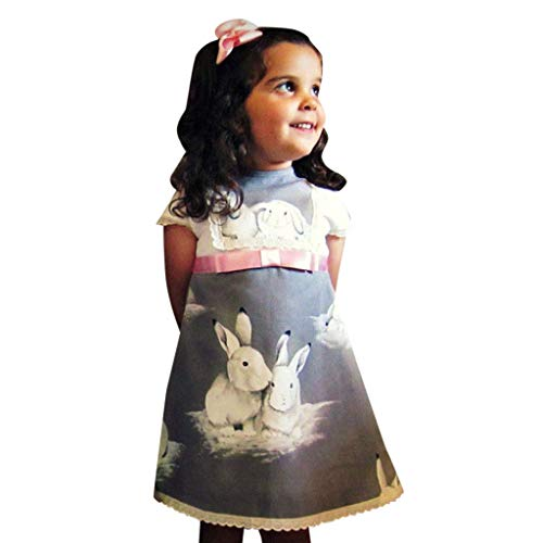 ❤️️ Mealeaf ❤️️ Toddler Baby Girls Short Sleeve Lace Easter Day Rabbit Print Dress Clothes 6 Month-4 Years ()
