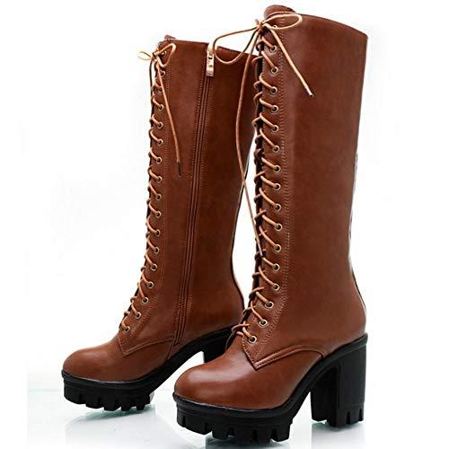 brunes pour femmes Bottes à mode talons hauts la à Vulusvalas de combat p8Adwq0t0