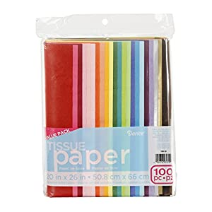 Darice 100-Piece Tissue Paper, 20″ x 26″, Assorted Colors