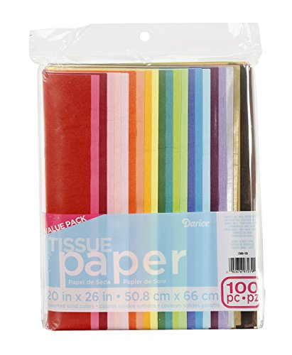 "Darice 100-Piece Tissue Paper, 20"" x 26"", Assorted Colors"