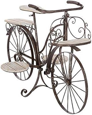 Bicicleta porta plantas decorativa - Jardinera de madera de roble ...