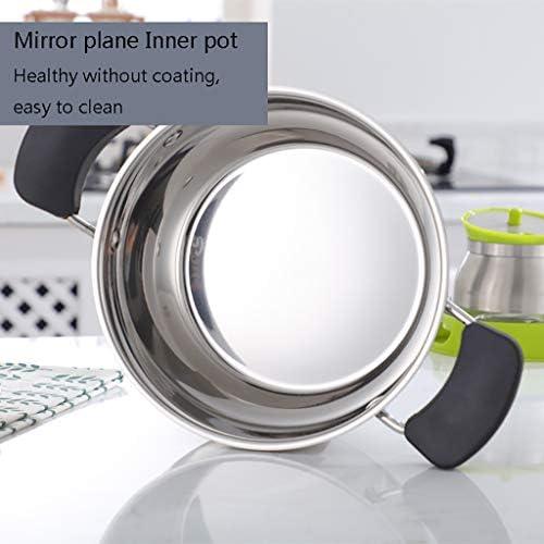 Pot en acier inoxydable couvercle en verre et poli miroir, haute capacité binaural épaississent en acier inoxydable poignée anti-brûlure (Size : 23.2 * 11cm)