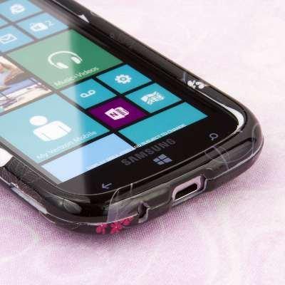 EMPIRE Volle Deckung Two Buds Flower Schwarz Case Tasche Hülle for Samsung ATIV Odyssey I930