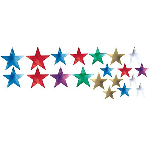 (Amscan Assorted Color and Size Star Cutouts Party Wall Room Decoration, 20 Pieces, Made from Foil, Multi Color, 5