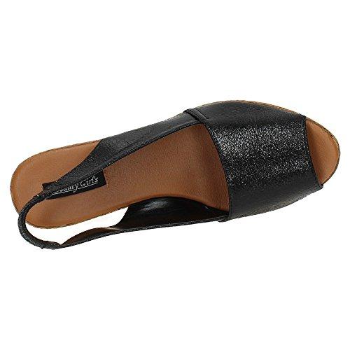 Sandalias Zapatop Cuero Negro De 83 Bg Mujer 641SZ4nx