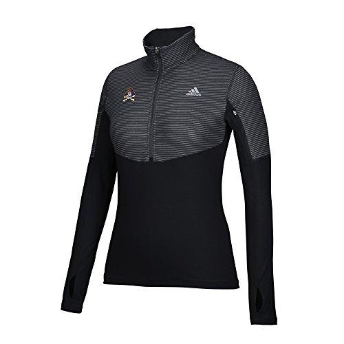 adidas NCAA East Carolina Pirates Women's Team Logo Heat Transfer Light Weight 1/2 Zip Jacket, Medium, Black