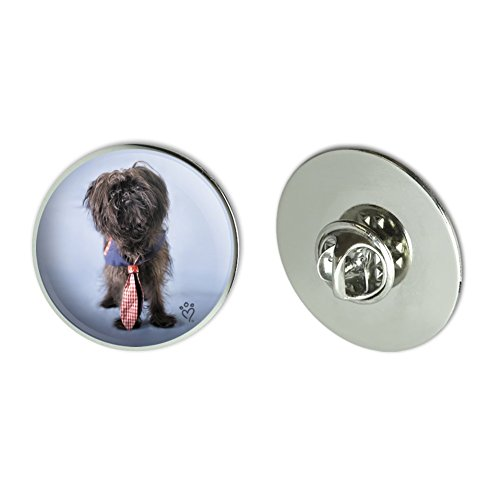"GRAPHICS & MORE Affenpinscher Puppy Dog with Tie Metal 1.1"" Tie Tack Hat Lapel Pin Pinback"