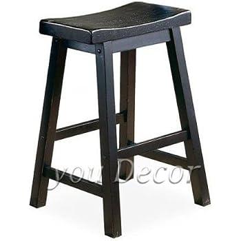 Amazon Com Saddle Back 29 Quot H Wood Bar Stool In Black