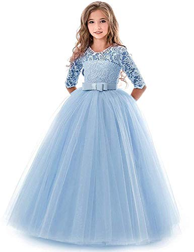 (Dress for Little Girls 7-8 Long Bow Lace Dresses Ball Gown 8 Years Old Summer Wedding Pageant Dress for Kids Blue Lace Tutu Tulle Girl Special Occasion Dresses Size7-8 Sleeveless (Blue 140))