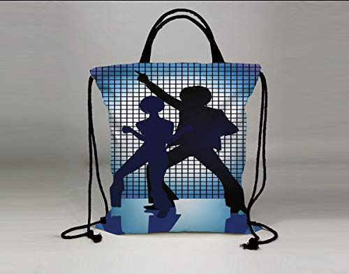 3D Print Drawstring Bag String Backpack,70s Party Decorations,Couple