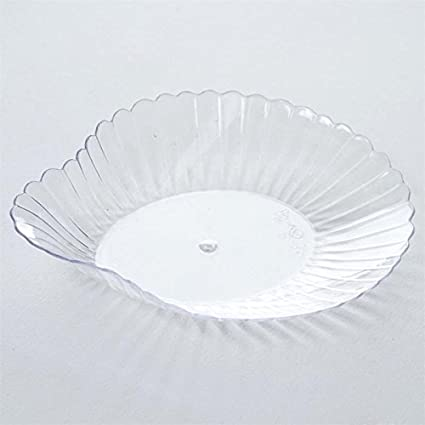 Amazoncom Balsacircle 96 Pcs 3 Inch Clear Seashell Plastic Plates