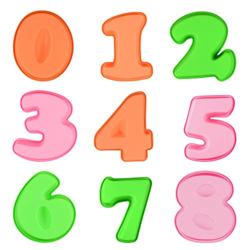Silicone Baking Number Cake Mold - Small Silicone Molds for Birthday Anniversary Set of 9 (Numbers Silicone)