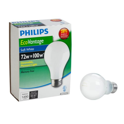 - Philips 426049 72-watt A19 Dimmable  Halogen Light Bulb, Soft White, 4-Pack