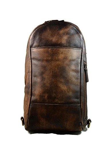 Mens waist leather shoulder bag hobo bag travel back sling satchel dark brown backpack leather backpack leather sling washed leather by ItalianHandbags