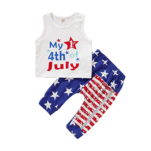 perfectCOCO Toddler Kids Baby Girl Vest Tops 4th of July Stars Stripe Pants Outfit Set Bodysuit Jumpsuit Blue