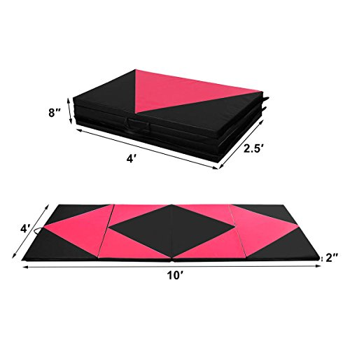 COSTWAY 4'X10'X2 Gymnastics Mat Folding Panel Thick Gym Fitness Exercise Pink/Black New by COSTWAY (Image #7)