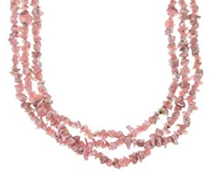 Sterling Silver Native American Rhodochrosite 3-Strand Bead Necklace PX33543