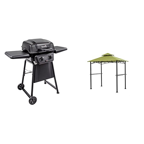 Char-Broil Classic 280 2-Burner Liquid Propane Gas Grill & Sunjoy 8' x 5' Sylvan Soft top Grill Gazebo, Green Top
