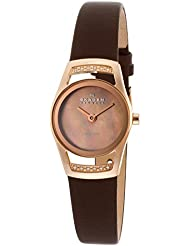 Skagen Black Leather Womens Two Hand Swiss Watch
