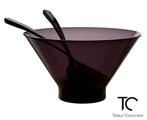 Tehila Collection Lucite Salad Bowl Large 2.78 Quart With 2 Matching Spoons, Translucent Black