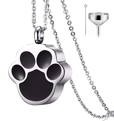 QUMY Pet Cat Dog Paw Print Cremation Jewelry for Ashes Wearable Urn Necklace Keepsake Memorial Pendant for Women Men, with Stainless Chain and Funnel Fill Kits (Men)