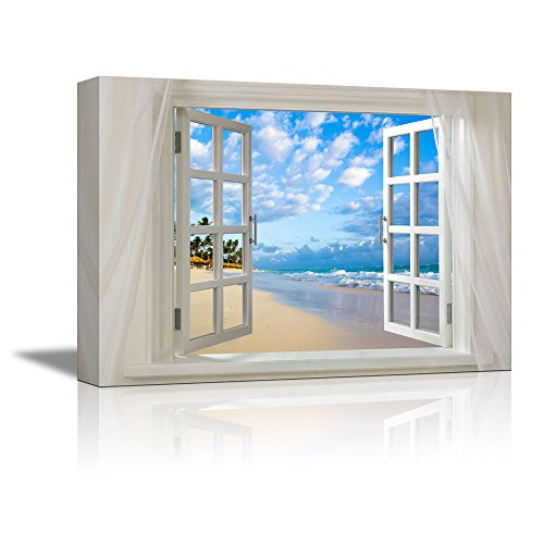 Glimpse into Clear Sea and Tropical Beach out of Open Window Wall Decor ation