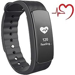 007plus T5 Plus Fitness Tracker Health Sleep Monitor Pedometer Activity Tracker Wristband (I3-bk Black)