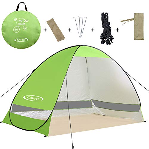 (G4Free Outdoor Automatic Pop up Instant Portable Cabana Beach Tent 2-3 Person Camping Fishing Hiking Picnicing Anti UV Beach Tent Beach Shelter, Sets up in Seconds(Green))