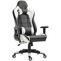 TIGO Gaming Chair Ergonomic Video Game Chairs Memory Foam Computer Chair High Back Leather Office Chair Desk Chair Neckrest Lumbar Cushion (Black/White)