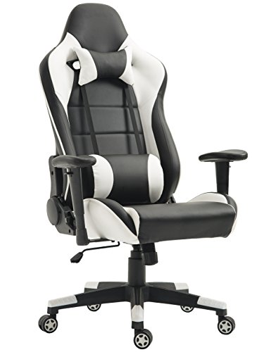 TIGO Gaming Chair Ergonomic Racing Chair PU Leather High-Back PC Computer Chair Adjustable Height Professional E-Sports Chair with Headrest and Lumbar Pillows (Black/White)
