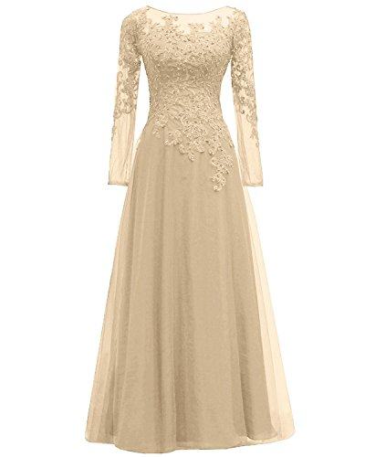 Pretygirl Women's Appliques Tulle Mother of The Bride Dress Long Sleeves Evening Formal Gown (16 Plus, Champagne)