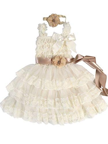 - Rosy Kids Girl's Vintage Chic Flower Girl Lace Dress Flower Sash Hair Flower, Ivory Dress Champagne Sash Cream Flower, S
