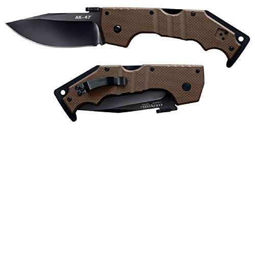 Ak47 Folding Knife - Cold Steel AK-47 Folder 3.5 in Black Plain FDE G-10 Handle 58MVF