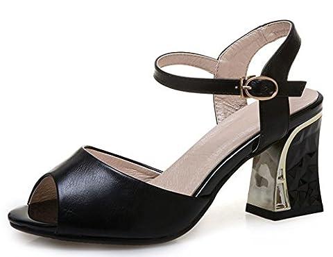 IDIFU Women's Fashion Peep Toe Mid Chunky Heels Sandals Shoes With Ankle Strap (Black, 6 B(M) US)