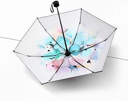 BAOLH Regenschirm Frauen kleine tragbare Faltbare Sonnenschirm Outdoor UV-Schutz kompakte Reiseschirm Winddicht Sonnenschutzschirm schwarz (Farbe : Multicolor)