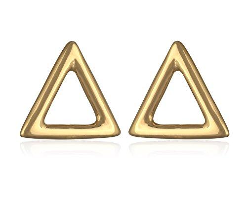 Boucles d'Oreilles en Plaqué Or - Petit Triangle Creux 7 mm - Clous