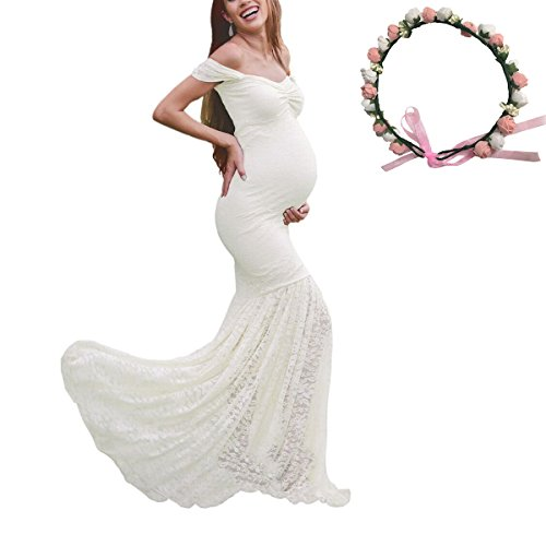 Womens Off Shoulder Ruffle Sleeves Lace Mermaid Maternity Slim Fit Gown Maxi Bridesmaid Photography Dress