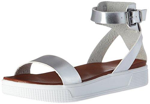 (MIA Women's Ellen Flat Sandal, Silver, 8.5 M US)