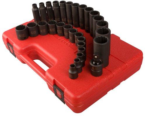 Sunex 3330 3/8-Inch Drive 12-Point Metric Impact Socket Set, - Piece 21 Socket 12 Point
